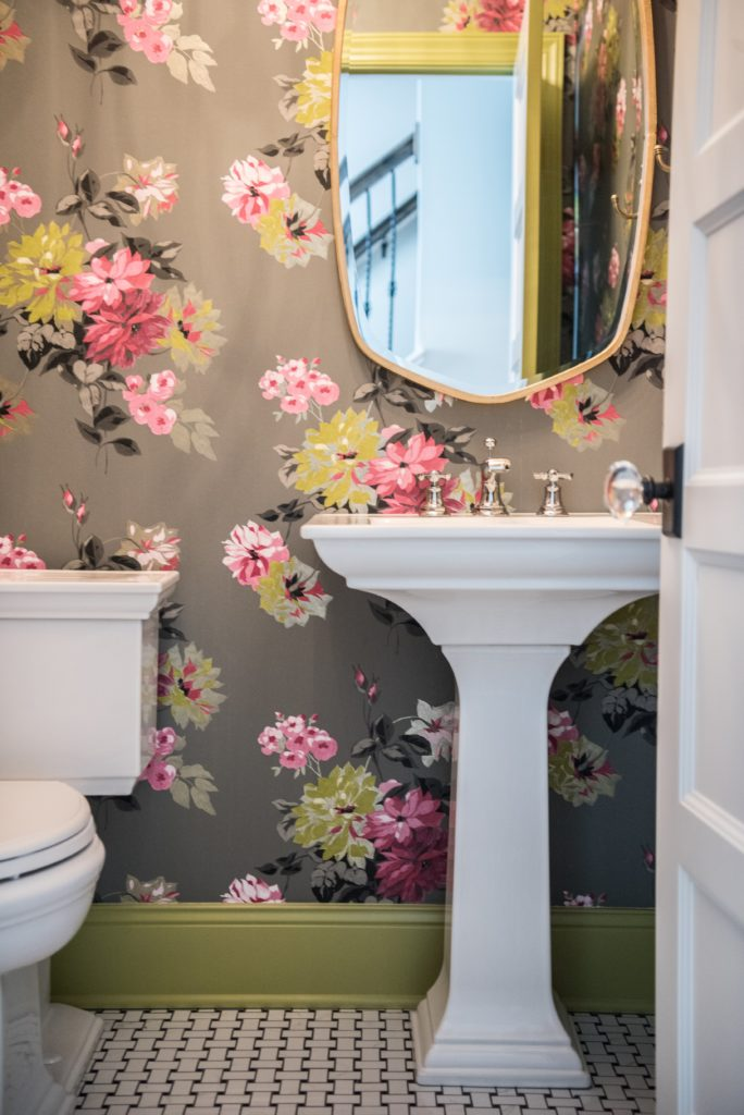 wallpaper powder room interior design
