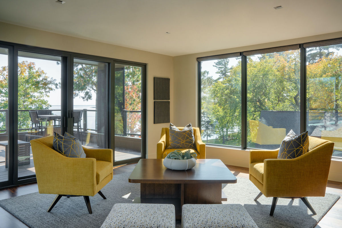 sitting room with yellow chairs