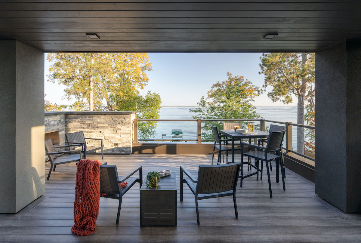 outdoor porch with lake view